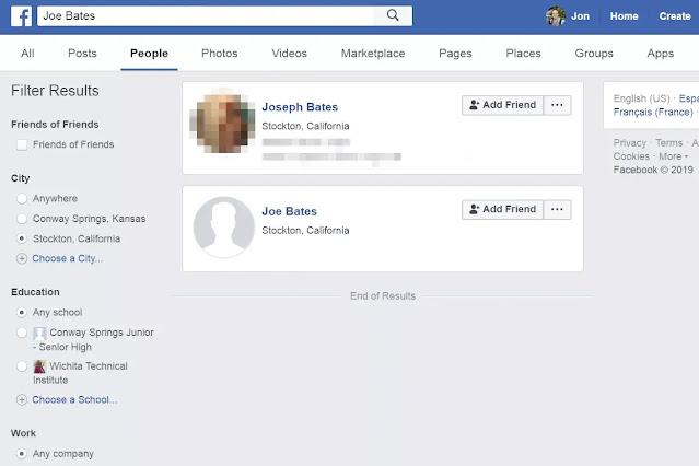 بحث على Facebook حسب اسم الشخص