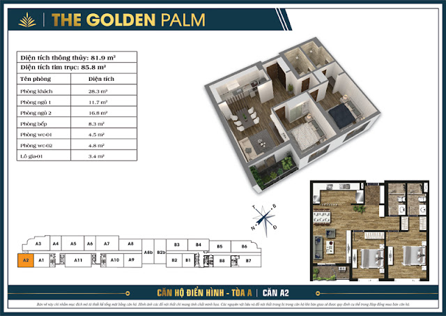 Mặt bằng căn A2 tòa A The Golden Palm