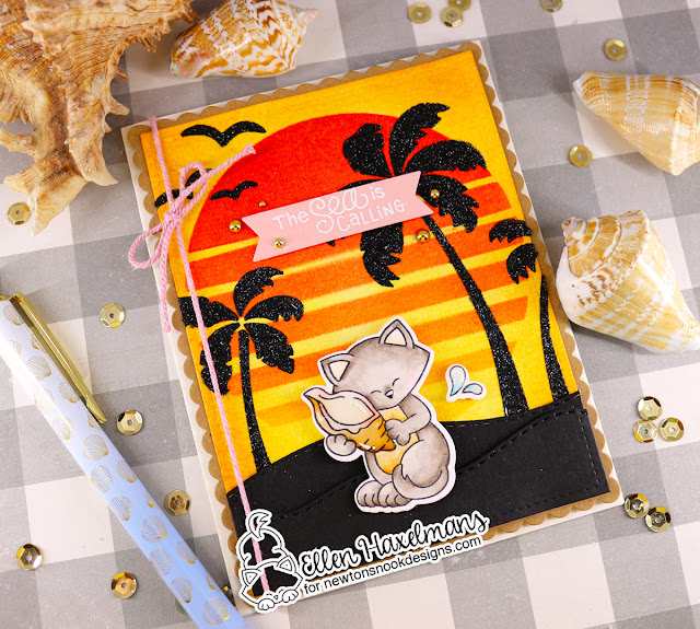 Beach Sunset card with Cat by Ellen Haxelmans| Newton's Seashell Stamp Set and Sun & Palms Stencil Set by Newton's Nook Designs #newtonsnook