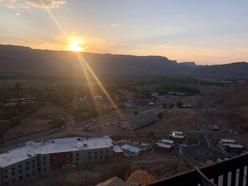 Sunset in Moab at Charlie Steen's former residence, now Sunset Grill, in Moab (Source: Palmia Observatory)