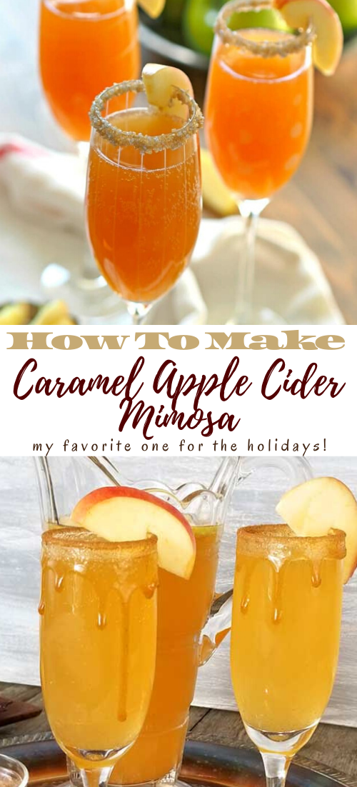 Caramel Apple Cider Mimosa #healthydrink #drinkrecipe #smoothiehealthy #cocktail
