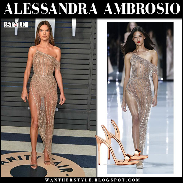 Alessandra Ambrosio in sheer beaded dress ralph russo vanity fair oscar party march 4