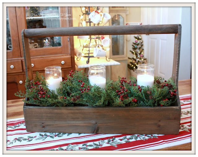 Farmhouse Christmas Kitchen-Breakfast Nook-Tool Caddy With Candles-From My Front Porch To Yours