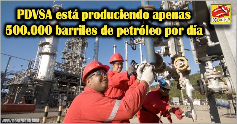 PDVSA está produciendo apenas 500.000 barriles de petróleo por día