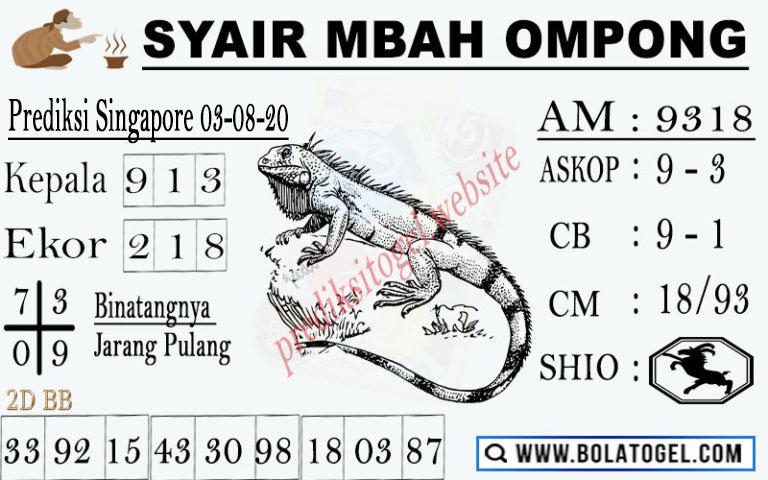 syair sgp mbah ompong 3 agustus 2020