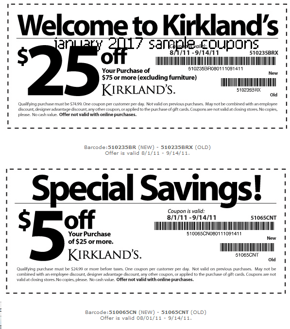 Kirklands $25 off $75 Printable Coupon. One of the many Kirklands Coupons that are available as printable coupons is the $25 off your purchase of $75 or more at Kirklands.