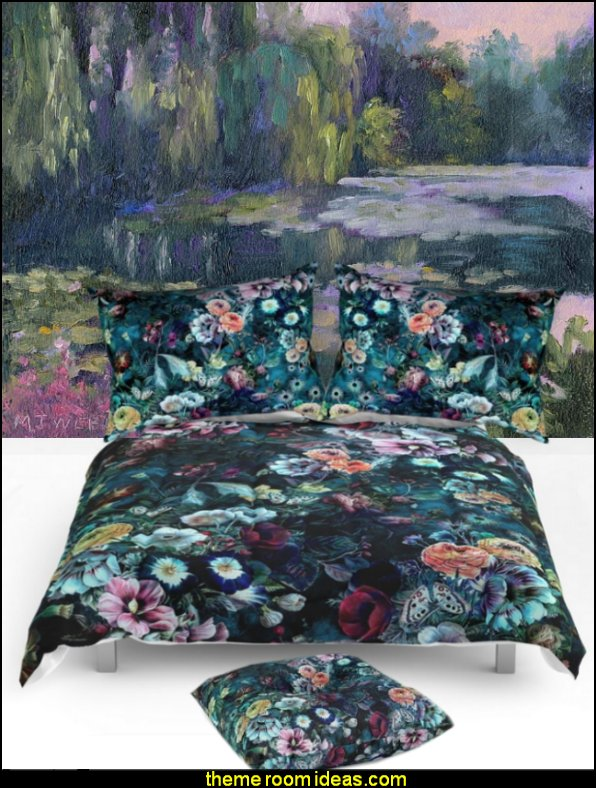 Night Garden  bedding  floral bedding - flowers pillows - floral duvet covers - Floral Bedding Sets - flower theme bedding - Floral Print Bedding - floral comforters - floral pillows