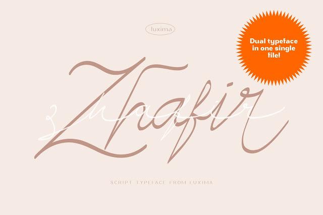Zhafir script font modern typeface modern script
