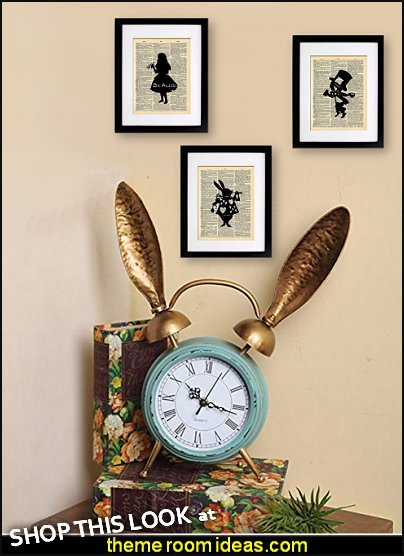 Retro Iron Iron Rabbit Ear alarm clock  Alice in Wonderland Tea Party prints alice in wonderland wall decorations alice in wonderland bedroom decor fun clocks rabbit ears clocks alice bedrooms