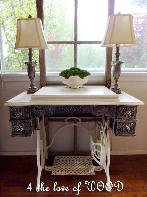 4 the love of wood white sewing machine repurposed treadle sewing cabinet - Four ways to repurpose an old sewing machine ...