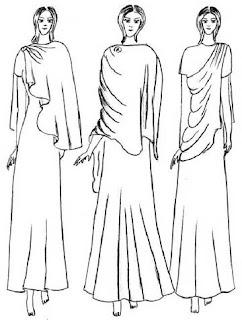 Mantel/shawl, yaitu busana yang berbentuk segi empat panjang yang dalam pemakaiannya disampirkan pada satu bahu atau kedua bahu