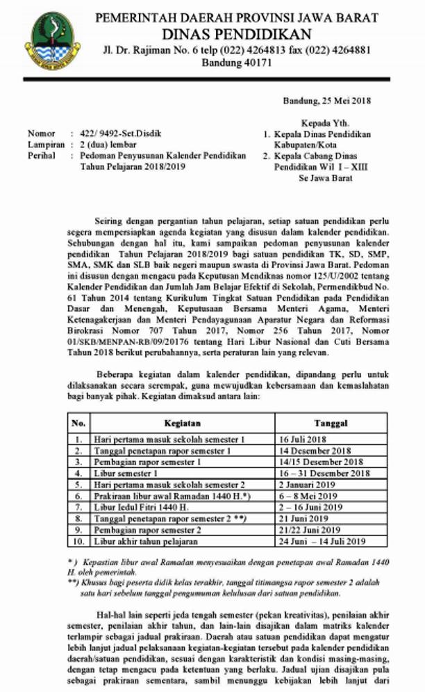 Kalender Pendidikan Provinsi Jawa Barat 2018/2019 Dan 2017/2018