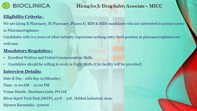 Bioclinica - Walk-in interview for multiple positions for freshers and experienced candidates on 16th September, 2019