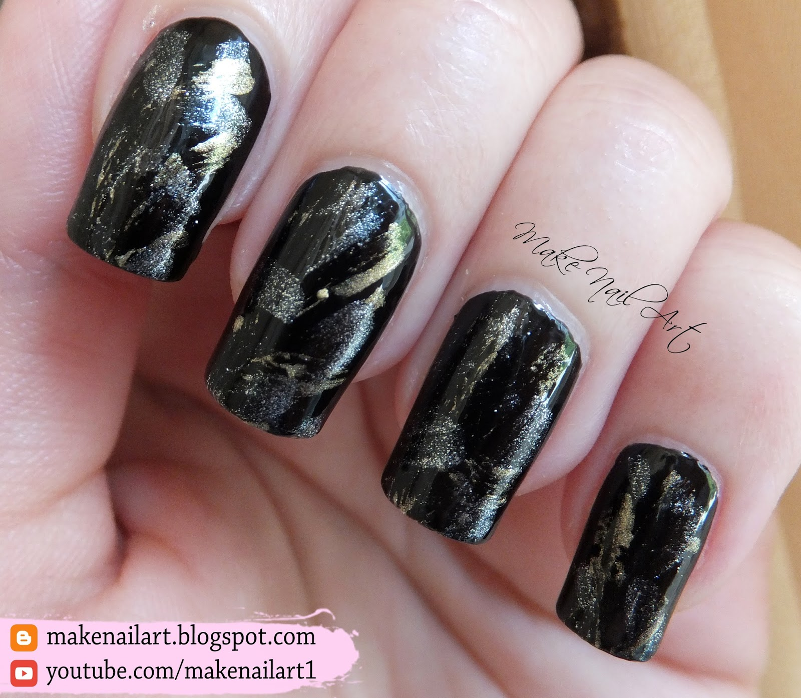 Black Gold And Silver Dry Brush Technique Nail Art Design