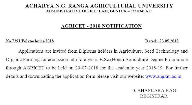 ANGRAU AGRICET 2018 Notification