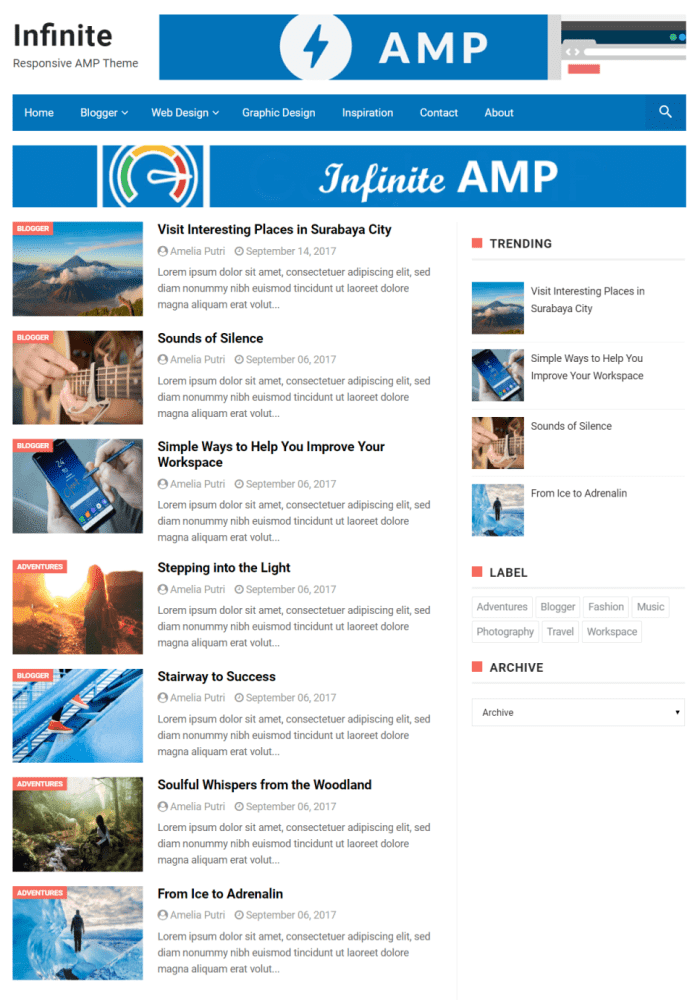 Infinity Best Free Amp Blogger Templates