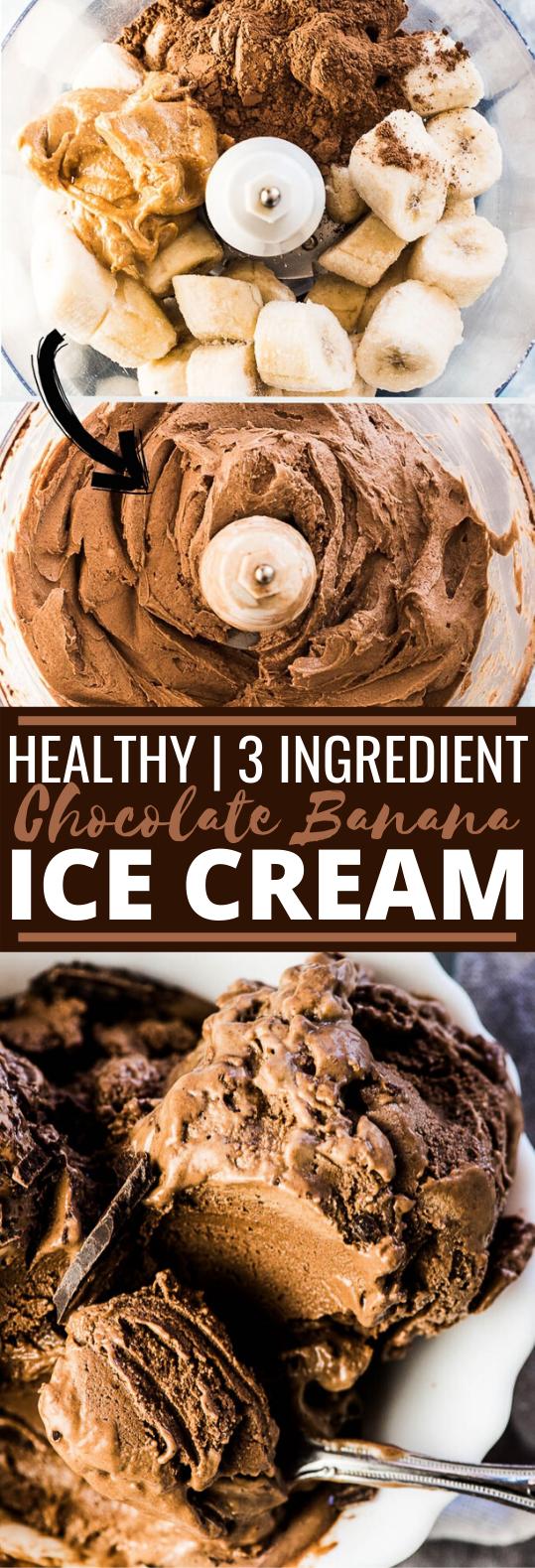 Healthy 3 Ingredient Chocolate Banana Ice Cream #healthy #recipes #icecream #glutenfree #chocolate