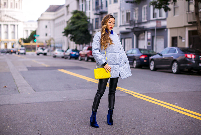topshop Jacquard Satin Puffer Jacket, tassel earrings, tory burch bag, blank denim moto pants, steve madden velvet ankle booties, nars lipstick, how to, stylish way to wear puffer jacket, san francisco street style, san francisco fashion blog