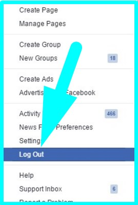 how to logout facebook account in laptop