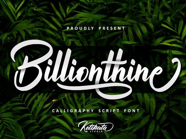 Billionthine Strong Script Font Free Download