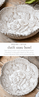 See how a worn out bowl purchased for $3 at the thrift store is given a farmhouse style makeover with paint and antiquing wax.  |  www.andersonandgrant.com
