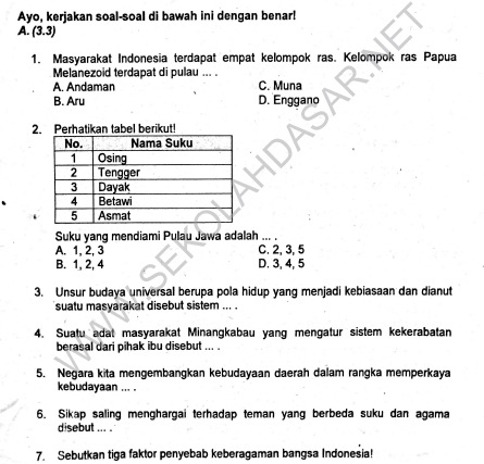 Soal Semester Tema 7 Kelas 5 SD/MI