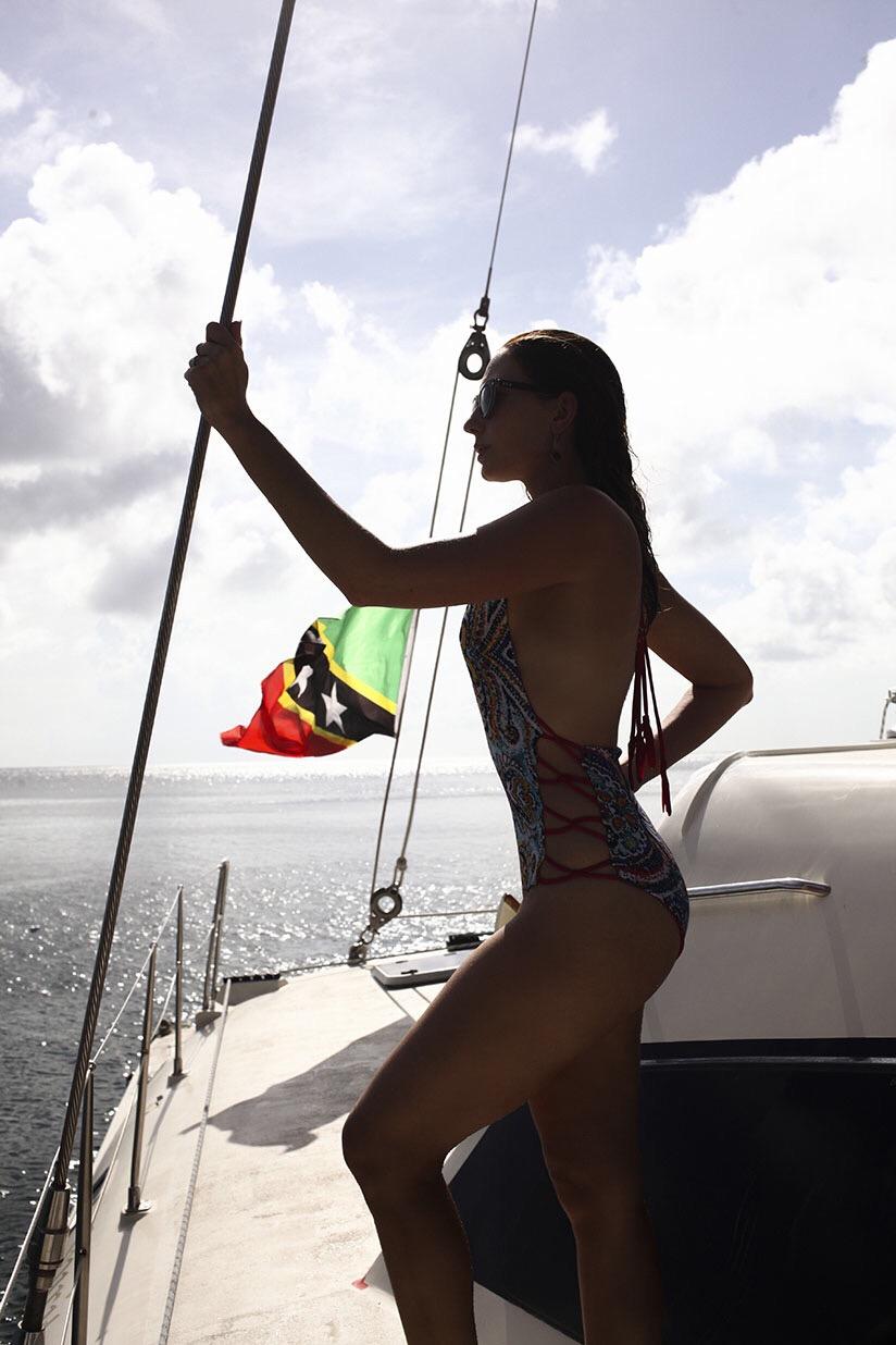 Amy West views Nevis Island aboard a Catamaran