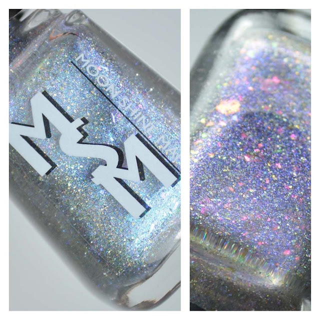 diamond colored holographic nail polish in a bottle