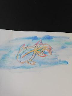 水彩絵の具で輪郭を彩色した切り絵(薄い背景)