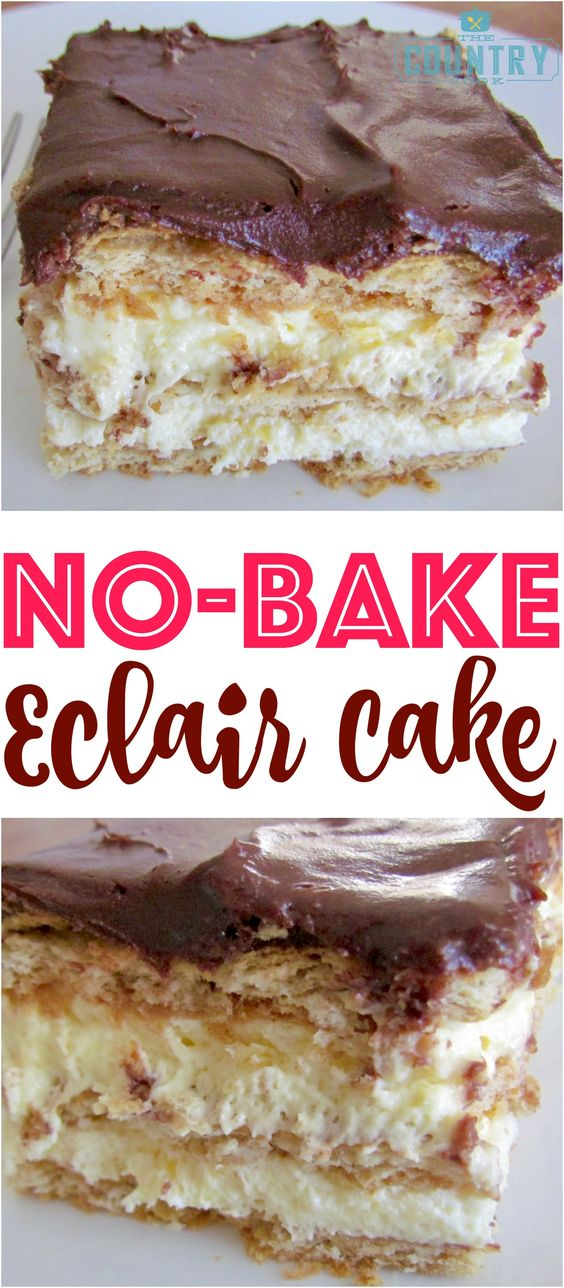No-Bake Eclair Cake #nobake #eclair #cake #cakerecipes #dessertrecipes #easydessertrecipes #easycakerecipes