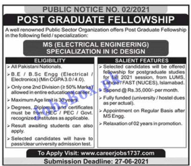 Post Graduate Fellowship Jobs 2021 – Career Jobs 1737 – Apply Online