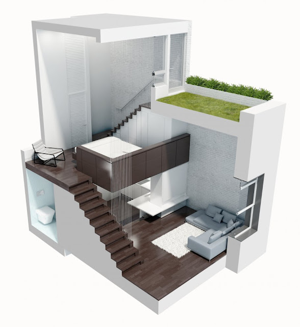 3D illustration of small duplex apartment