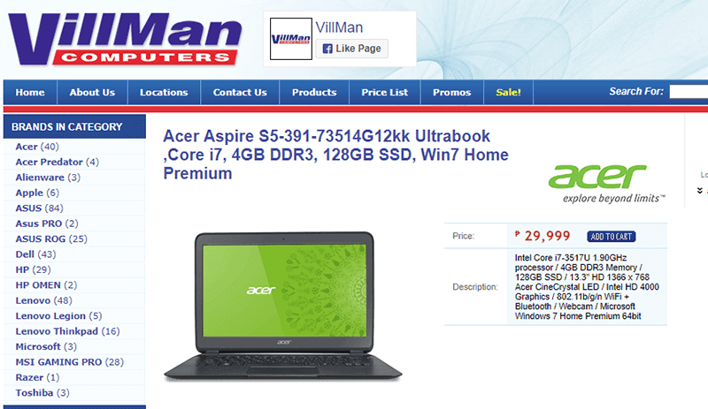 The Acer Aspire S5 Ultrabook is available at Villman for PHP 29,999