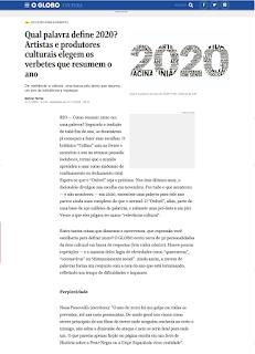 Qual palavra define 2020? Artistas e produtores culturais elegem os verbetes que resumem o ano. Nana Pauvolih é uma delas