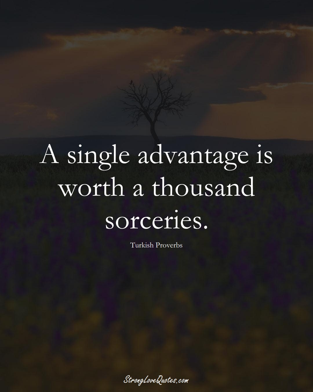 A single advantage is worth a thousand sorceries. (Turkish Sayings);  #MiddleEasternSayings