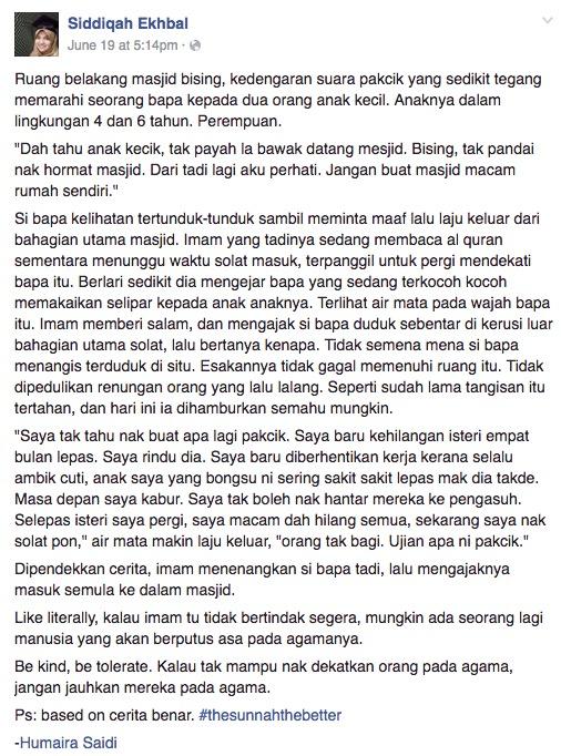 """""""Dah Tahu Anak Kecil, Tak Payah Bawa Datang Masjid. Bising!"""""""