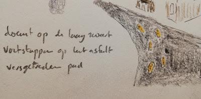 Voetstappen in het asfalt tekening met haiku