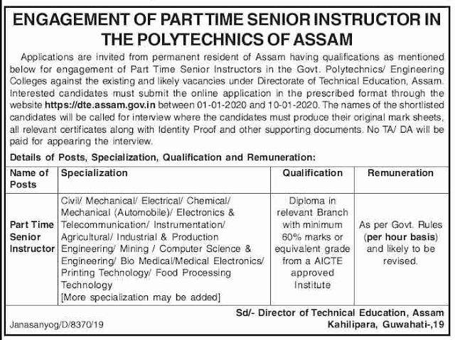 Apply Online For Part-Time Senior Instructor, DTE,  Assam Recruitment 2020Apply Now