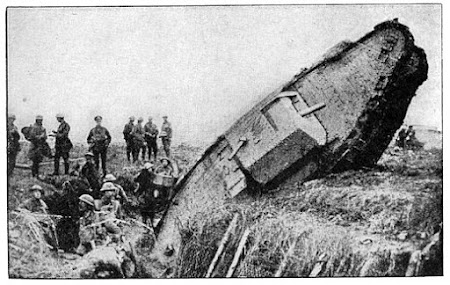 WW1 tank that has fallen into an anti-tank trench