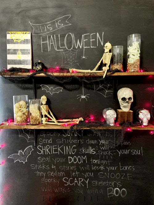 Halloween Shelfie - Halloween shelf decor