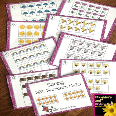 https://www.teacherspayteachers.com/Product/Tens-Frames-Numbers-to-20-Spring-Math-Center-Task-Cards-3077211
