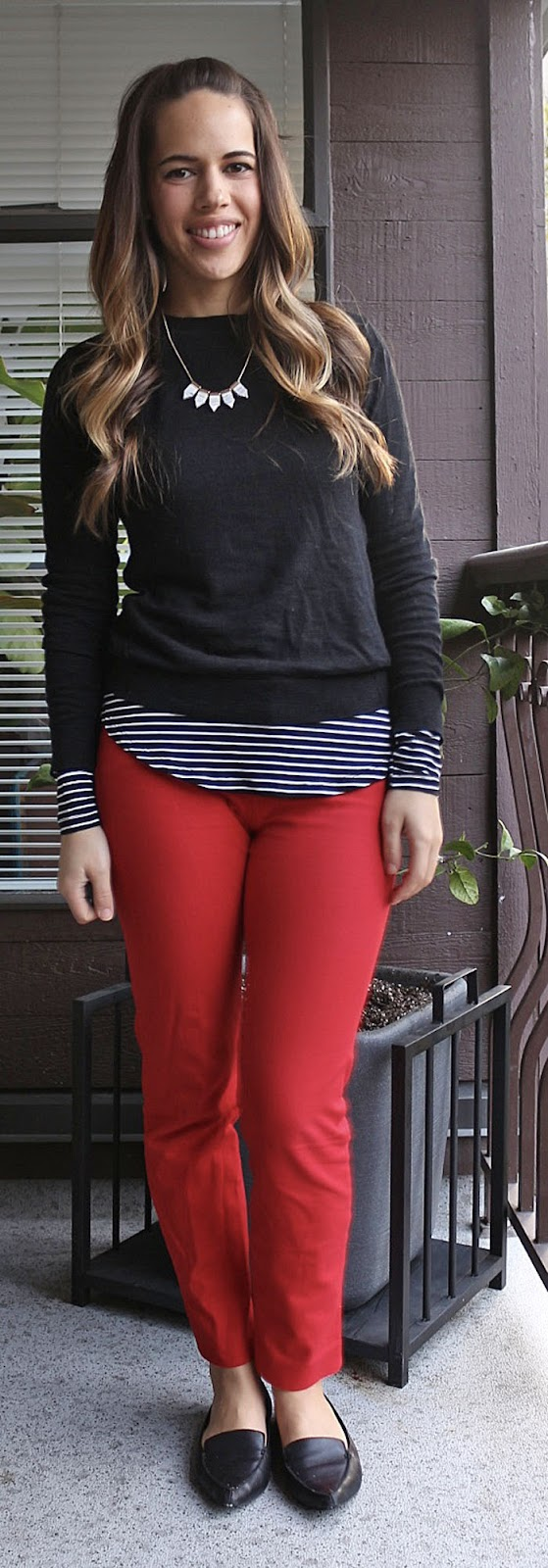 Jules in Flats - Old Navy Red Pixie Pants, Gap Sweater, Old Navy Perfect Layering Top