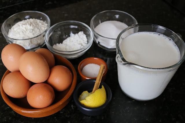 Ingredientes para bizcocho genovés relleno de crema