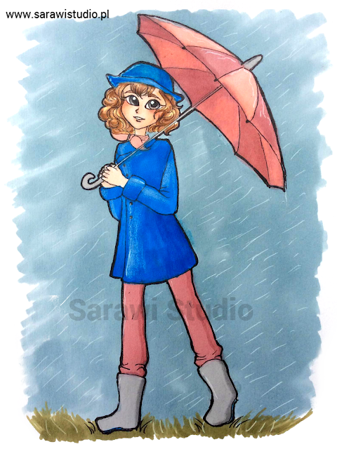 postać, rysunek, drawing, promarker, dziewczyna, dziewczynka, portret, parasol, deszcz