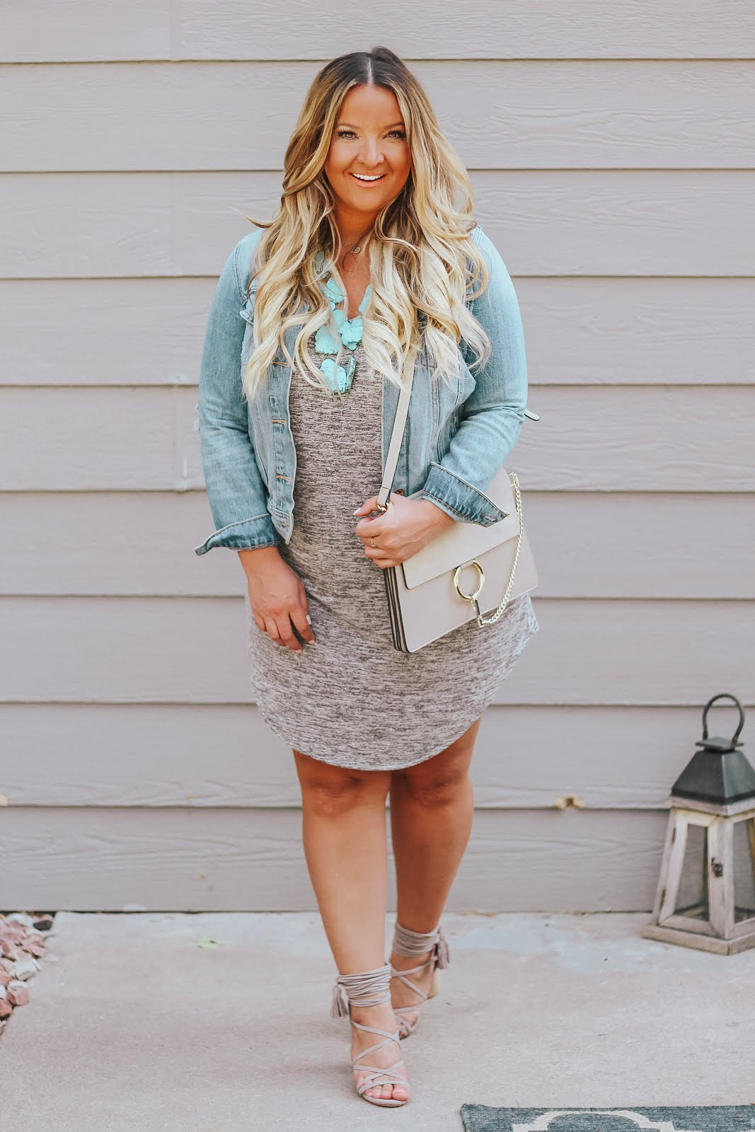 Leith grey tank dress styled by top Denver fashion blog, Delayna Denaye