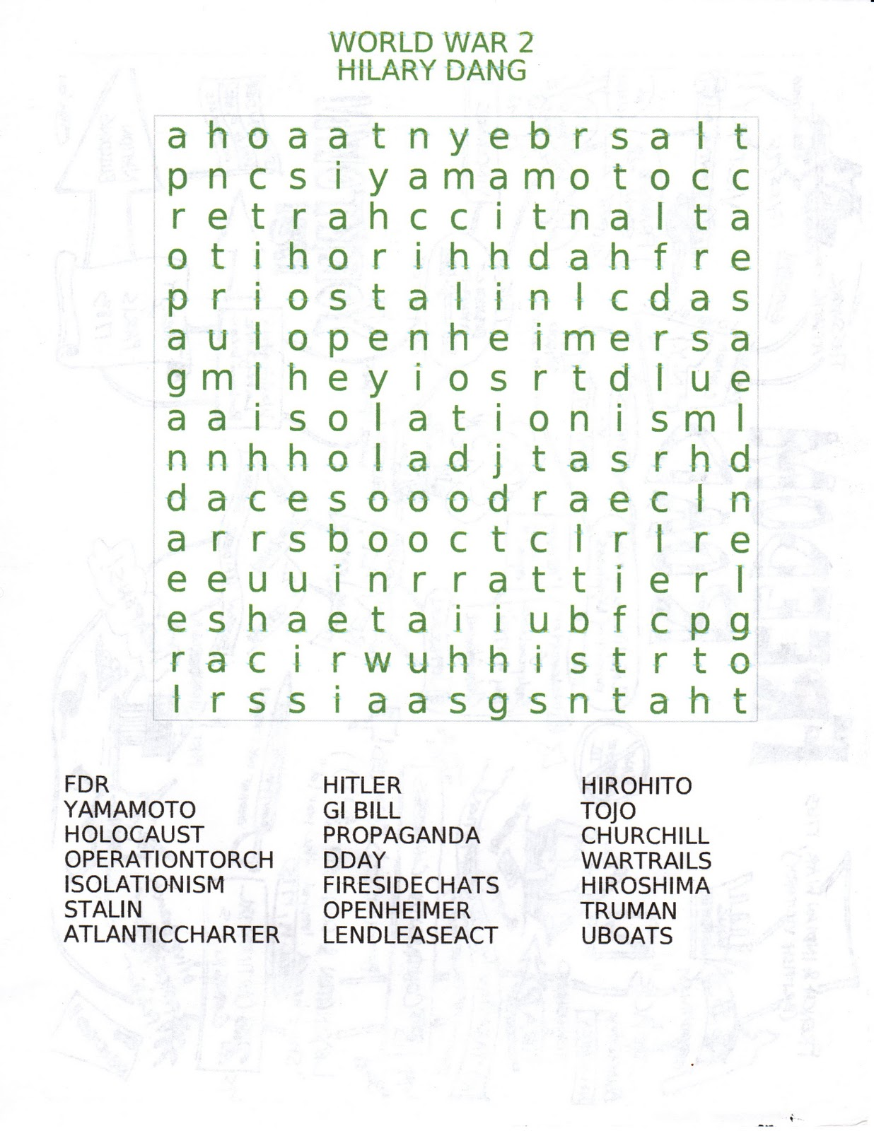 World War 2 Word Search Of The Day