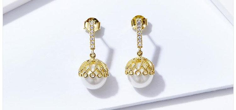 伊斯坦堡華麗宮廷風 925純銀擬珍珠耳環