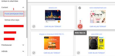 Memblokir iklan melalui pusat peninjauan iklan