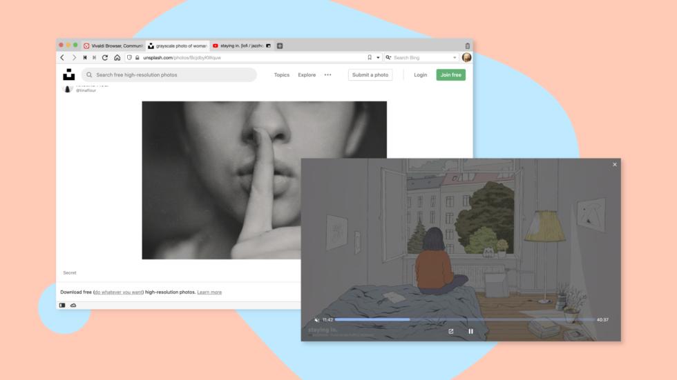 Vivaldi 3.2 ottiene il tasto disattivazione audio per i video Picture-in-Picture