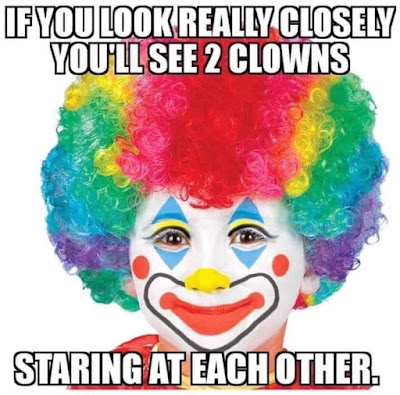 If you look really closely you'll see 2 clowns staring at each other